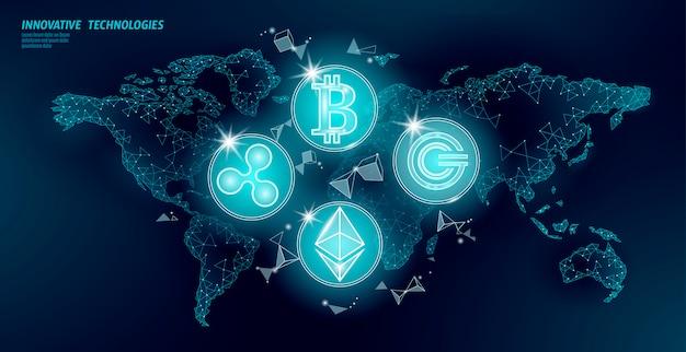 Criptomoeda internacional blockchain internacional. mapa-múndi baixo poli moderno futuro financiamento bancário design. triângulo poligonal bitcoin ethereum ripple gcc ilustração de negócios