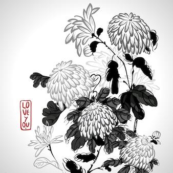 Crisântemo de florescência de vetor em estilo chinês