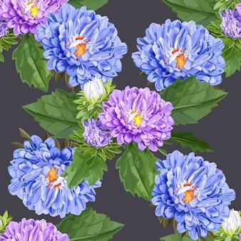 Crisântemo flor sem costura padrão em roxo