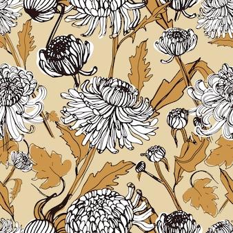 Crisântemo japonês mão desenhada padrão com brotos, flores e folhas