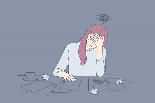 Crise criativa, fadiga, estresse mental, depressão, conceito de frustração