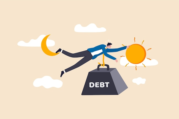 Crise da dívida para o homem do salário, trabalhando duro dia até a noite ganhando dinheiro para pagar a dívida do conceito de hábitos de gastos excessivos