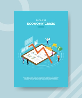 Crise da economia empresarial pessoas paradas ao redor da área de transferência do gráfico para baixo seta dinheiro