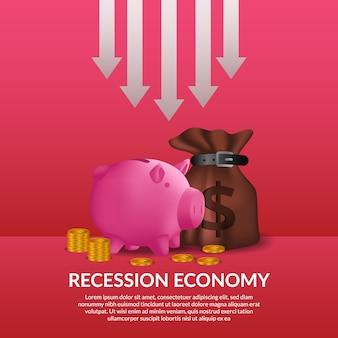 Crise de finanças de negócios. recessão da economia global. inflação e falência. ilustração de saco de dinheiro, cofrinho e dinheiro dourado com seta para soltar