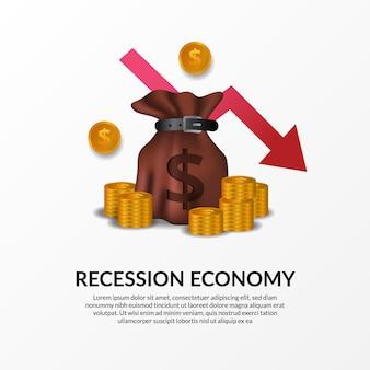 Crise de finanças de negócios. recessão da economia global. inflação e falência. ilustração de saco de dinheiro, dinheiro dourado e seta vermelha de baixa