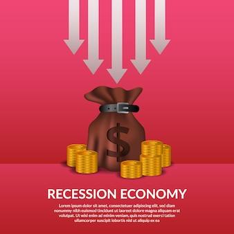 Crise de finanças de negócios. recessão da economia global. inflação e falência. ilustração de saco de dinheiro e dinheiro dourado com seta para soltar