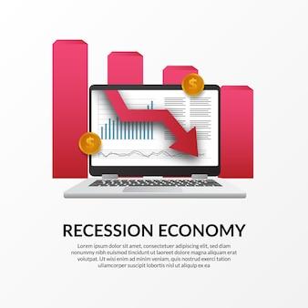 Crise de finanças de negócios. recessão da economia global. inflação e falência. ilustração do computador portátil de dados e seta para baixo vermelha