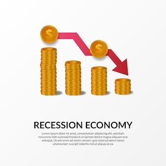 Crise de finanças de negócios. recessão da economia global. inflação e falência. ilustração do gráfico de dinheiro 3d dourado e seta vermelha de baixa