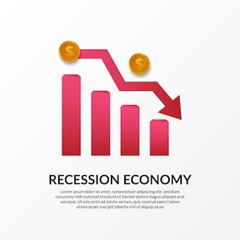 Crise de finanças de negócios. recessão da economia global. inflação e falência. ilustração do gráfico vermelho, dinheiro dourado e flecha de baixa