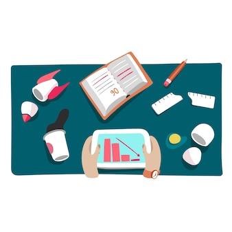 Crise de negócios ou queda de inicialização ilustração de falha financeira e queda de mercado