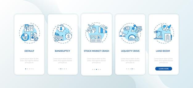 Crise econômica integração tela da página do aplicativo móvel com conceitos. as emergências econômicas e sociais globais apresentam instruções gráficas de cinco etapas. modelo de vetor de interface do usuário com ilustrações coloridas rgb