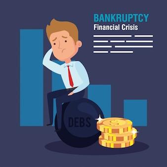 Crise financeira de falência, com empresário preso em uma cadeia de escravos