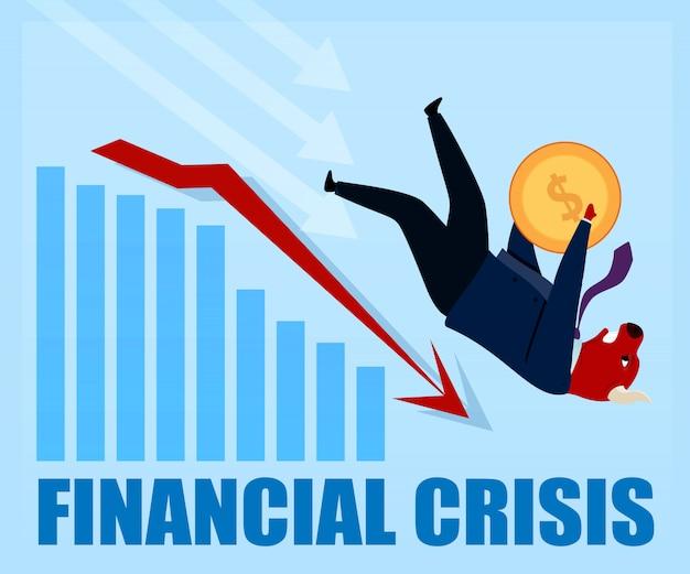 Crise financeira, derrubado, personagem, touro, comerciante
