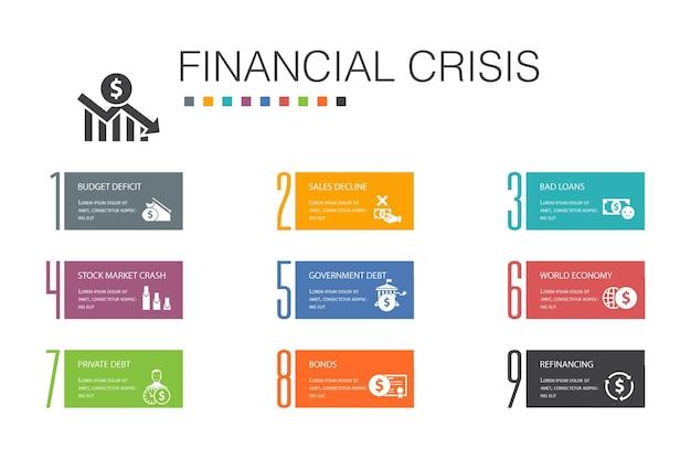Crise financeira infográfico 10 linha de opção concept. déficit orçamentário, maus empréstimos, dívida governamental, ícones simples de refinanciamento