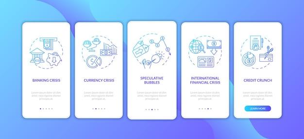 Crise financeira integração tela da página do aplicativo móvel com conceitos. recessão econômica internacional passo a passo cinco etapas instruções gráficas. modelo de vetor de interface do usuário com ilustrações coloridas rgb.
