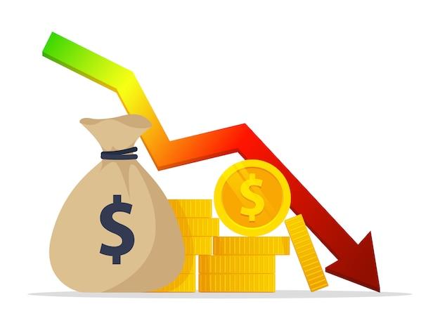 Crise. modelos de tabelas e gráficos. infografia de negócios. despesas de investimento e redução de economia ruim