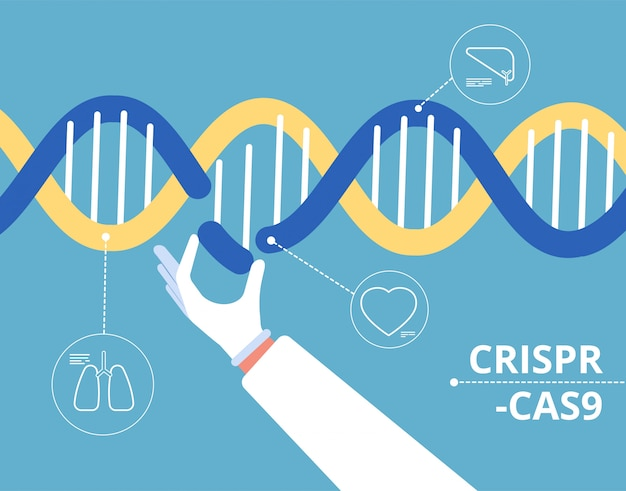 Crispr cas9 conceito. engenharia bioquímica medicina gen pesquisa mutação biologia dna modificação fundo