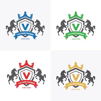 Crista de letras de cavalos com escudo e crown para hotel, finanças, esporte clube de negócios