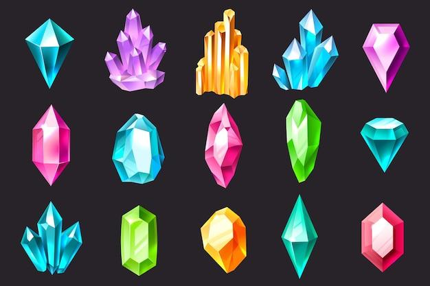 Cristais de desenho animado. gemas de joias coloridas, pedras preciosas, estalagmites e estalactites de cristal de luxo. conjunto de vetores de pedras preciosas de quartzo, safira e ametista