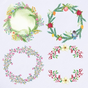 Cristais de flores de natal de aquarela