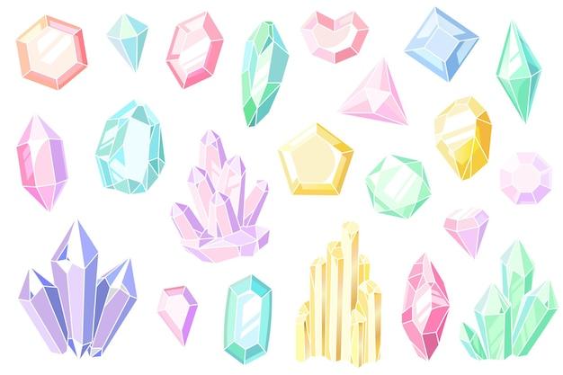 Cristais e gemas. pedras preciosas rosa e roxas, belas joias, estalagmites de cristal pastel de pedra mineral, desenhos animados de elementos de geologia conjunto colorido