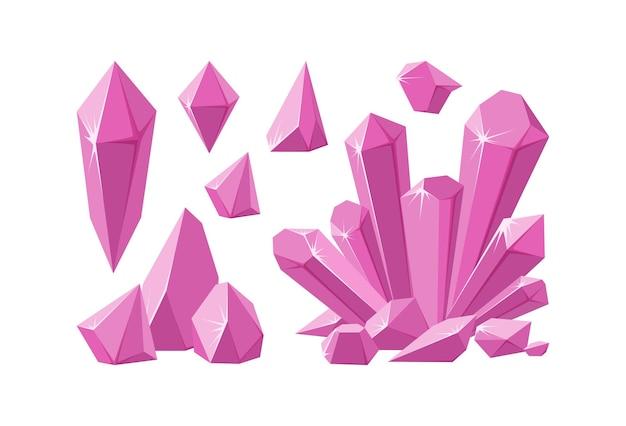 Cristais e pedras rosa conjunto de estalagmite rosa e cristais gemas de ametista de vários formatos