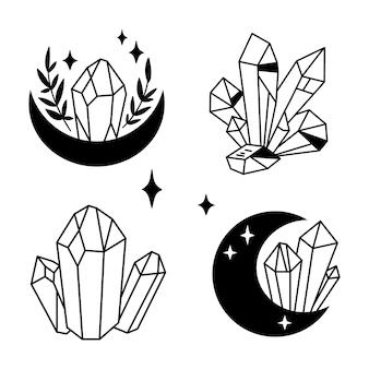 Cristais ou pedras preciosas e clipart de lua agrupam joia celestial ou coleção de diamantes