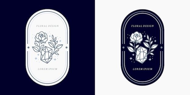 Cristal azul vintage desenhado à mão, joias, folhas, modelo de logotipo de flor rosa e elemento de marca de beleza feminina