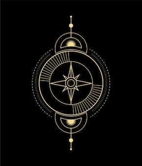 Cristal da estrela da lua onda do sol e geometria sagrada para orientações espirituais do leitor de tarô