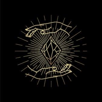 Cristal mágico e logotipo dourado de mão, leitor de tarô de orientação espiritual