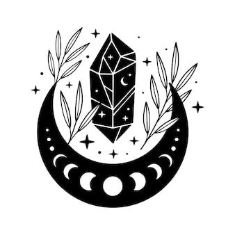 Cristal negro mágico com lua e folhas. ilustração celestial criativa.