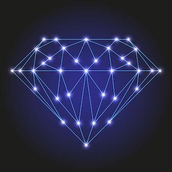 Cristal ou gema facetada de linhas azuis poligonais e estrelas brilhantes