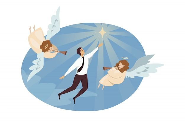 Cristianismo de religião, conceito de sucesso de ajuda.