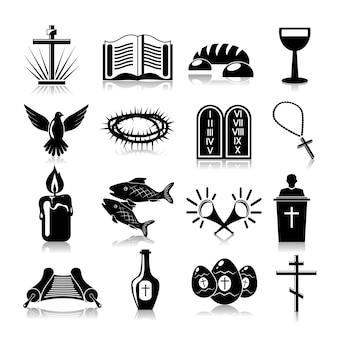 Cristianismo ícones conjunto preto