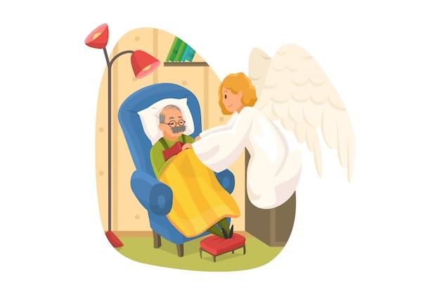 Cristianismo, religião, conceito de proteção. sorridente anjo santo personagem religioso bíblico cobrindo o corpo de pensionista velho idoso dormindo com cobertor. apoio divino e ilustração de cuidado.