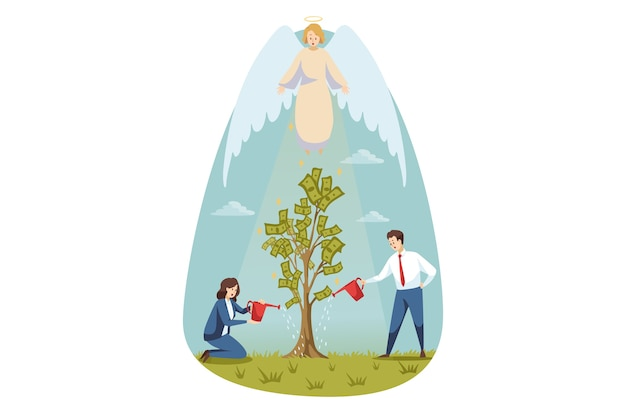 Cristianismo, religião, proteção, jardinagem, negócios, conceito de suporte. anjo bíblico personagem religioso protegendo empresário cara mulher escriturário gerente derramando árvore do dinheiro. sucesso do apoio divino.
