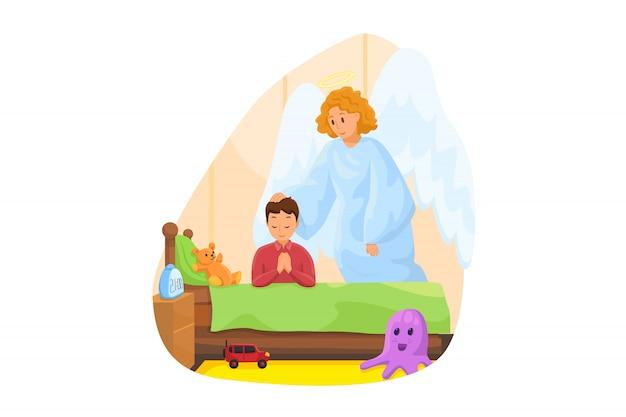 Cristianismo, religião, proteção, oração, conceito de adoração. anjo bíblico personagem religioso assistindo menino criança criança orando perto da cama antes de dormir à noite. apoio divino ou ilustração de cuidado.