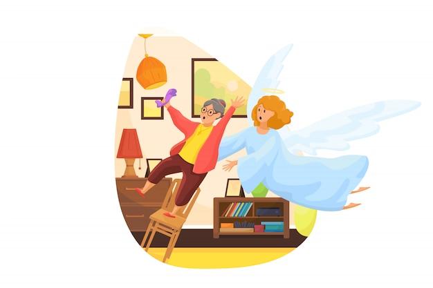 Cristianismo, religião, proteção, resgate, cuidado, conceito de suporte. anjo bíblico personagem religioso pegando uma velha aposentada caindo da cadeira. apoio divino e cuidados de saúde.