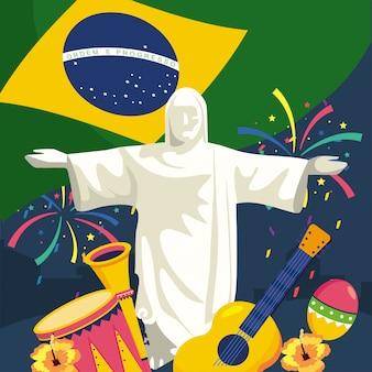 Cristo redentor com instrumentos tradicionais e fogos de artifício