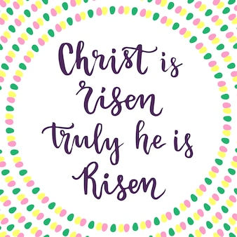 Cristo ressuscitou. verdadeiramente ele ressuscitou. letra da frase da páscoa.