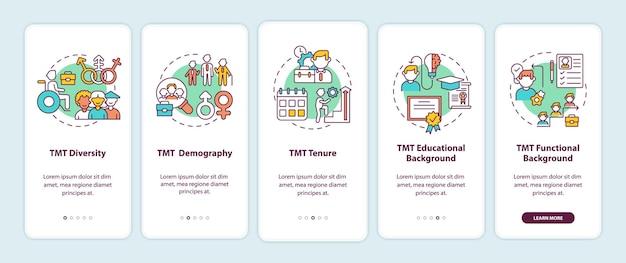 Critérios de análise da equipe de gerenciamento superior integrando a tela da página do aplicativo móvel com conceitos. tmt diversidade passo a passo 5 etapas instruções gráficas modelo de interface do usuário com ilustrações coloridas rgb