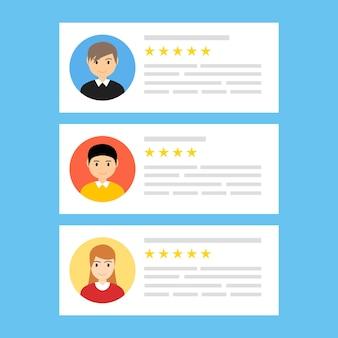 Críticas de usuários on-line comentários do cliente, revisão de conceito de classificação de experiência