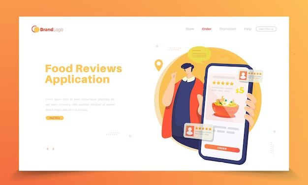 Críticas online e pedidos de comida na página de destino