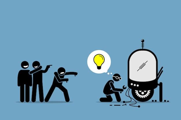 Críticos zombando e zombando de um inventor por criar