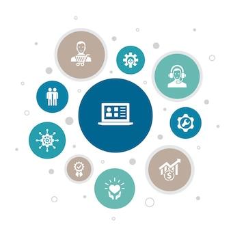 Crm infográfico design de bolha de 10 etapas. cliente, gerenciamento, relacionamento, ícones simples de serviço