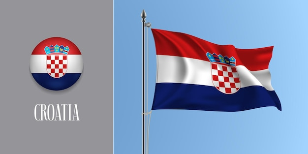 Croácia acenando uma bandeira no mastro da bandeira e ilustração vetorial ícone redondo. maquete 3d realista de listras da bandeira croata e do botão do círculo