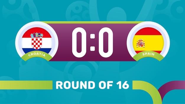 Croácia vs espanha rodada de 16 partidas, ilustração vetorial do campeonato europeu de futebol 2020. jogo do campeonato de futebol de 2020 contra times - introdução ao histórico do esporte