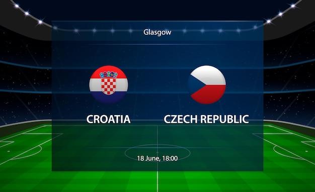 Croácia vs placar de futebol da república tcheca. Vetor Premium