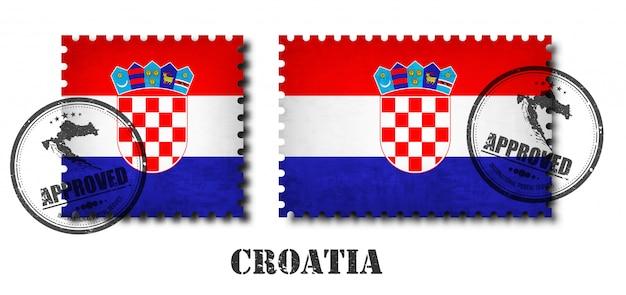 Croatia ou selo postal do padrão da bandeira croata