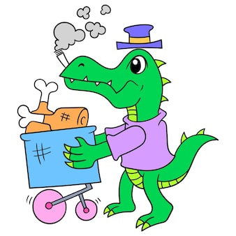 Crocodilo andando carregando carrinho de carrinho para comprar carne de mantimentos, arte de ilustração vetorial. imagem de ícone do doodle kawaii.